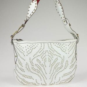 Vintage Gucci White Leather Studded Shoulder Bag